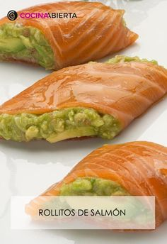 Salmon Y Aguacate, Exotic Food, Canapes, Tostadas, Fresh Rolls, Seafood Recipes, Food To Make, Avocado, Clean Eating