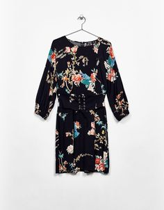 Corset effect dress with floral print. Discover this and many more items in Bershka with new products every week