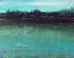 ARTFINDER: Viridian by Rose Strang - In this painting I wanted to capture a sense of early morning stillness. It depicts a lake in the Weald, Sussex, England, where my Great Great Grandfather wa...
