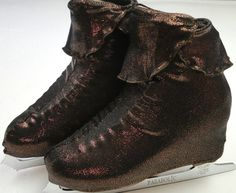 Peter Pan Skate Boot Covers / Figure Skating / Ice Skating /  Roller Skating. Skating Skating as Peter Pan in Wonderland? These shiny bronzed brown Peter Pan skating boot covers will complete your look!