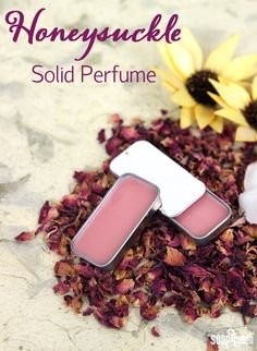 This Honeysuckle Solid Perfume smells amazing, and is so easy to make!