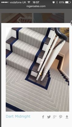 another stair runner idea currently inspired by http www rogeroates Staircase Makeover, Staircase Railings, Staircase Design, Stairways, Painted Staircases, Staircase Runner, Painted Stairs, Wood Stairs, Stairway Carpet