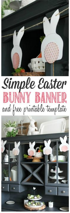 Cute Easter bunny bunting! This is so easy to make with a free printable template. // cleanandscentsible.com