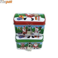 Xmas metal treasure tin box for candy with lock