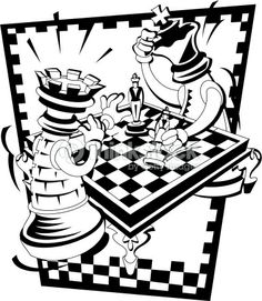 Chess Vector | Two oversized chess pieces playing a game of chess : Vector Art