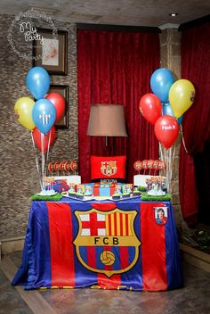 Bolo Do Barcelona, Barcelona Soccer Party, Messi Birthday, Boy Birthday, Happy Birthday, Soccer Birthday Parties, Football Birthday, Birthday Decorations, Holidays And Events