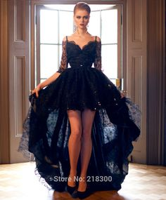 Find More Prom Dresses Information about Off the Shoulder Black Lace High Low Prom Dresses Three Quarter Sleeves Evening Dresses,High Quality dress up santa claus,China dress converter Suppliers, Cheap dress c from MyPromDresses on Aliexpress.com