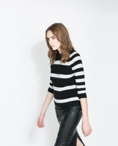 Image 3 of SWEATER WITH DIFFERENT STRIPES from Zara