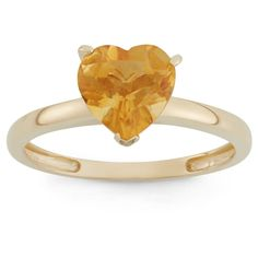 1 3/4 Tcw Tiara Heart-cut Citrine Ring in 10k Yellow Gold - (6), Women's