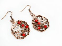 Red earrings round earrings wire wrapped by MargoHandmadeJewelry