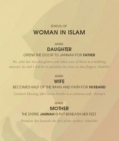 Islamic Quotes about Daughters-The Blessings of Daughters in Islam Women In Islam Quotes, Quran Quotes Love, Islam Women, Allah Quotes, Muslim Quotes, Woman Quotes, Quotes About Allah, Quran Sayings, Islam Marriage