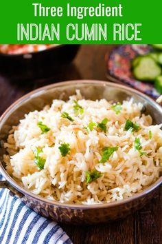 Jeera Rice is a delicious aromatic side dish that goes perfectly with many Indian and Pakistani recipes. My Cumin or Jeera Rice recipe only requires 3 ingredients and is super quick and easy to make. Indian Side Dishes, Rice Side Dishes, Food Dishes, Pakistani Rice Recipes, Easy Indian Recipes, Vegetarian Recipes, Cooking Recipes, Healthy Recipes, Delicious Recipes