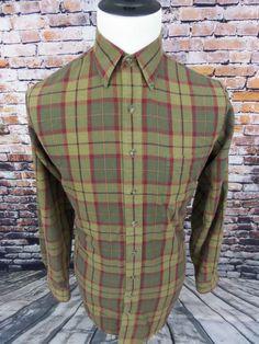 Viyella Men's Plaid Sport Button Down Shirt Size Medium Tall Cotton Wool Blend #Viyella #ButtonFront