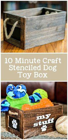 Quick Craft! Stenciled Dog Toy Box