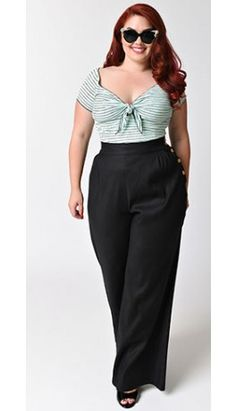 Hell Bunny Plus Size Retro Black High Waist Wide Leg Honey Bear Pants Plus Size Rockabilly, Mode Rockabilly, Rockabilly Fashion, Plus Size Vintage, Vintage Mode, Unique Vintage, Curvy Girl Fashion, Plus Size Fashion, 1940s Fashion