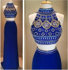 Top Selling Open Back Navy Blue Chiffon 2 Pieces Detachable Skirt Long Prom Dress,Backless Royal Blue Bodice Evening Dresses Prom Gown