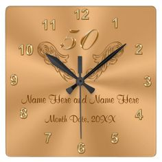 Gorgeous Personalized 50th Anniversary Gifts Square Wall Clock - click to get yours right now!