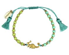 From the new 'Ocean' collection by Hultquist Copenhagen costume jewellery, this macrame bracelet in bright turquoise features green, gold and turquoise beads with a tiny little gold seahorse.