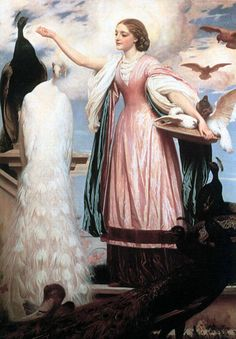 A Girl Feeding Peacocks by Lord Frederick Leighton