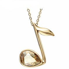 Check out our 14k Gold Plated Necklace With Austrian Crystal Music Note Pendant!