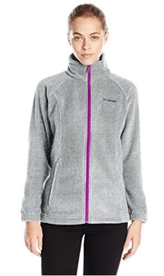 Columbia Women's Benton Springs Full Zip Jacket, Soft Fleece with Classic Fit, Light Grey/Bright Plum Medium Women's Athletic Leggings, Revival Clothing, Columbia Sportswear, Columbia Jacket, Athletic Women, Comfortable Fashion, Everyday Fashion, Jackets For Women, Men's Jackets