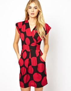 Closet Wrap Front Tulip Dress in Spot Print