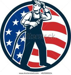 Illustration of welder worker standing with visor up looking to the side holding welding torch with tank viewed from front set inside circle with usa american stars and stripes flag  done retro style #welder #woodcut #illustration