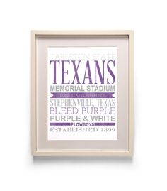 Tarleton State Texans Subway Typography Print 8x10 by heycopper, $20.00
