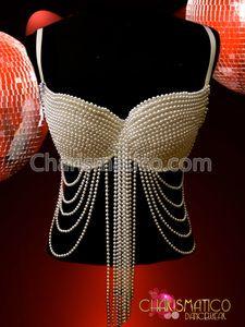 Gorgeous Showgirl Burlesque Sexy GOGO pearl bra