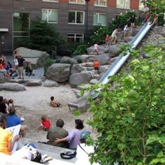 This part of Teardrop Park at Lower Manhattan, New York is so simple in it's playful beauty.