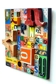 JUST MY TYPE 4 wood collage typography featured in Flea Market Style Magazine Spring 2012 by Elizabeth Rosen