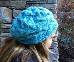 Star Crossed Slouchy Beret by Natalie Larson. malabrigo Worsted, Bobby Blue colorway.