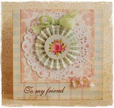 beautiful handmade card in pastels ... rose image, rosette, & rolled roses ... doily, ribbon and plaid ...