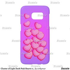 Cluster of Light Dark Pink Hearts on Purple Samsung Galaxy S7 Case