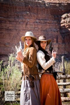 Adrienne and ShaeLee | www.adagio-images.com | www.facebook.com/adagioimages #modeling #ghosttown #gunfighters #gunslingers