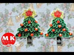 Мастер-класс Канзаши.Заколка для волос.Новогодняя Елка Канзаши/New Year tree Kanzashi - YouTube