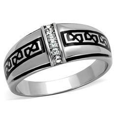 Men's Celtic Stainless & Black Wedding Band Ring