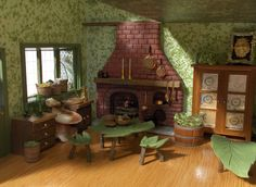 Fairy House Furniture Ideas  Leaf furniture made from real leaves pressed into paperclay, molded and painted