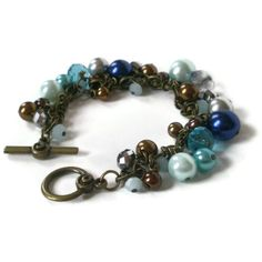 blue cluster bracelet, boho, glass pearls, crystal beads, vintage style, antique brass