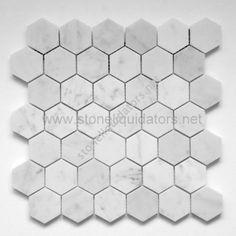 """2"""" Bianco White Carrara Marble Hexagon Mosaic Honed"""