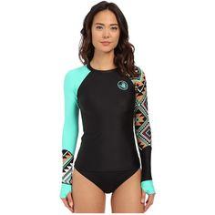 Body Glove Maka Sleek Long Sleeve Rashguard Women's Swimwear ($67) ❤ liked on Polyvore featuring swimwear, print swimwear, rash guard swimwear, body glove swimwear, rashguard swimwear and j.crew swimwear