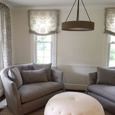 First the drapes, then the furniture and now just missing the accessories. A mix of modern and traditional but most definitely inviting. #huntfamilyhome #ellascottdesign  #interiordesign #interiors #instadesign #design #modern #traditional #style #chevychasemd #dcdesign #dcdesigner #washingtondc #mcm #midcenturymodern #livingroom #decor #pendantlight #ottoman