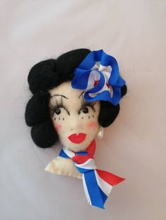Large patriotic pin up girl VE Celebation brooch felt face brooch 75 year celebrations by LoveFromLulugiftshop on Etsy Pin Up Girls, Celebrations, Disney Characters, Fictional Characters, Snow White, Felt, Brooch, Disney Princess, Places