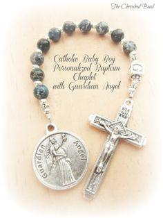 Catholic Baby Boy's Baptism Blue Gemstone by TheCherishedBead, $27.00