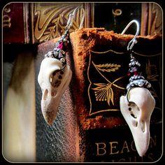 Raven Bird Skull Earrings ~ Carved from antler, stronger than real skulls ~ Halloween ~ garnet, sterling silver ~ realistic taxidermy