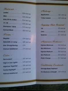 hair style menu beautifully designed menus and price lists for salons 7271