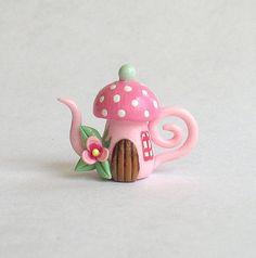 Miniature Whimsical Toadstool House Teapot OOAK by ArtisticSpirit, $20.00