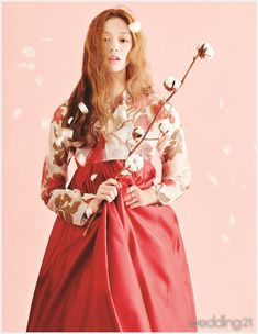hanbok | red | flowers