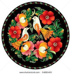 Russian folk handicraft painting on tray in vector, Russia, decor, ornament, bird, flower, round, tradition, Souvenir, present by elmm, via ...