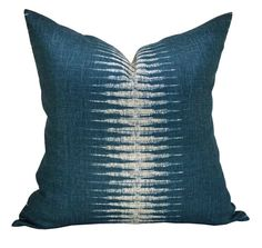 This listing is for one Ikat Peacock pillow cover with linen backing. DESCRIPTION Fabric: Peter Dunham Textiles Colors: Peacock blue, ivory   DETAILS Pattern placement WILL VARY from the listing photo. The pillow cover shown in the listing photo is 20 x 20 with a 22 down blend insert. Inserts are available for purchase through the following link, which also includes sizing recommendations…